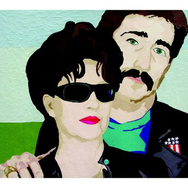 Custom Made Double Art Quilt Portrait: Portrait Of Kar & Jim