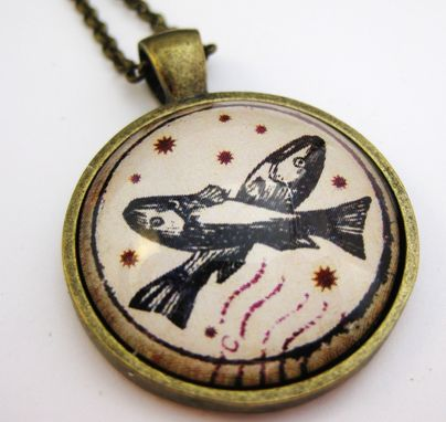 Custom Made Vintage Style Pisces Zodiac Pendant On Rolo Necklace