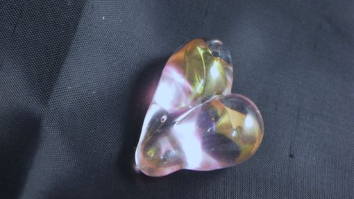 Custom Made Pink And Gold Glass Heart Pendant