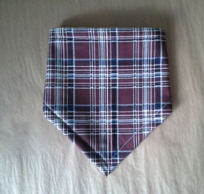 Custom Made Bandana Bib For Baby In Brown Plaid- Fleece Lined