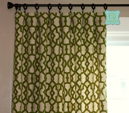 Custom Made 84l X 50w Flocked Curtains Trellis Custom Curtain Panels Home Accents Jotto Olive Green