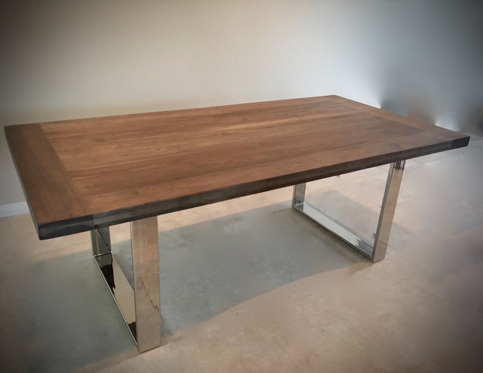 Custom Made Dining Table Pecan Hardwood With Chrome Base