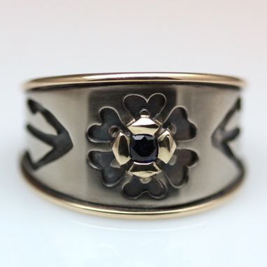 Custom Made Hand Pierced 14k Palladium White Gold And 14k Yellow Gold Flower Ring With Sapphire