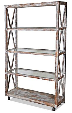 Custom Made Distressed Finish Reclaimed Wood Bookcase
