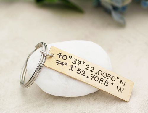 Custom Made Custom Coordinates Keychain, Brass, Copper Or Aluminum, With Personalized Message