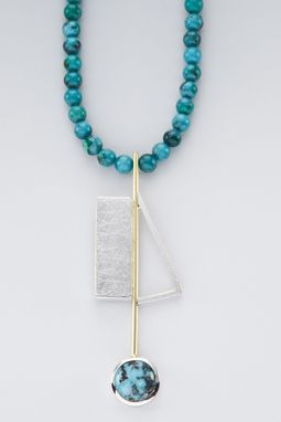 Custom Made Necklace - Sterling Silver, 18kt Yellow Gold With Chinese Turquoise