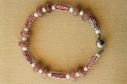 Custom Made Lovely Glass Bead With Rose Jade,White Quartz, Pink Seed Beads Make This Necklace And Bracelet Set
