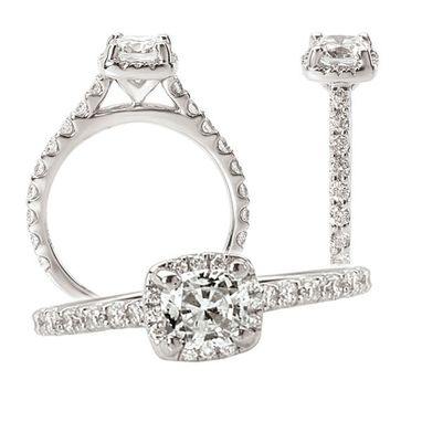 Custom Made 18k White Gold Diamond Engagement Ring Semi-Mount, Holds A 6mm Cushion Center