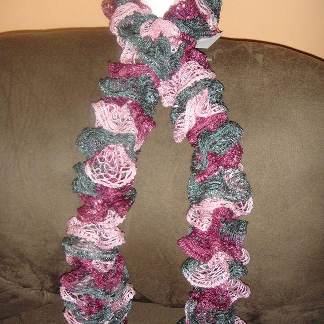 Custom Made Knitted Scarf Red Heart Sashay Yarn Ballet Light