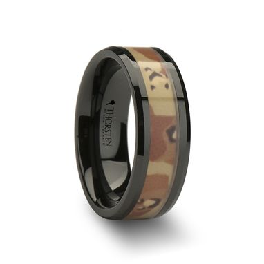 Custom Made Fox Beveled Black Ceramic Ring With Real Military Style Desert Camo - 8mm