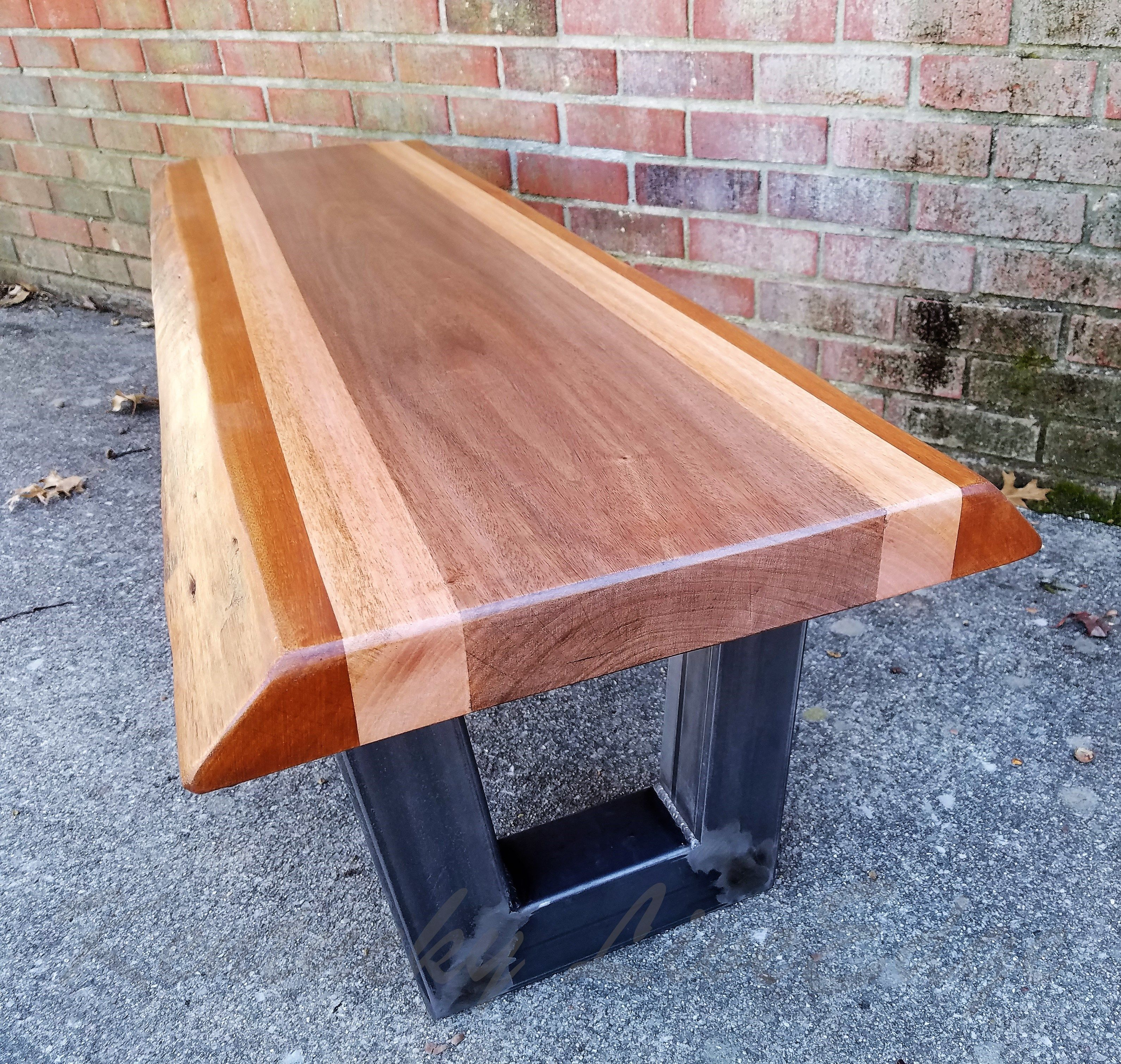 Custom Made Live Edge Bench Coffee Table Mahogany Steel