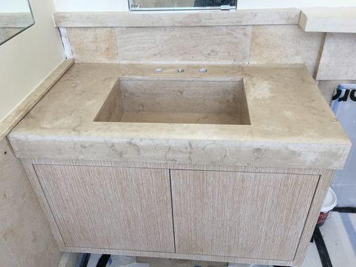 Custom Made Custom Honed Moleanos Limestone Floating Vanity Sink