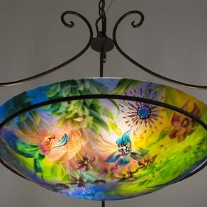 Custom ceiling fixtures custommade paradise in blues reverse painted glass chandelier aloadofball Choice Image