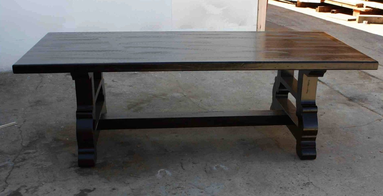 Handmade Spanish Trestle Dining Table In Reclaimed Wood By