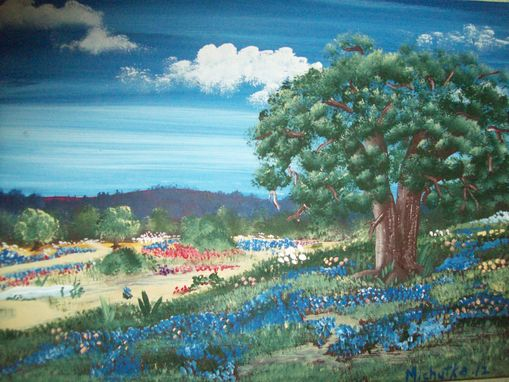 Custom Made Original Painting On Hardwood Titled: Texas Hill Country