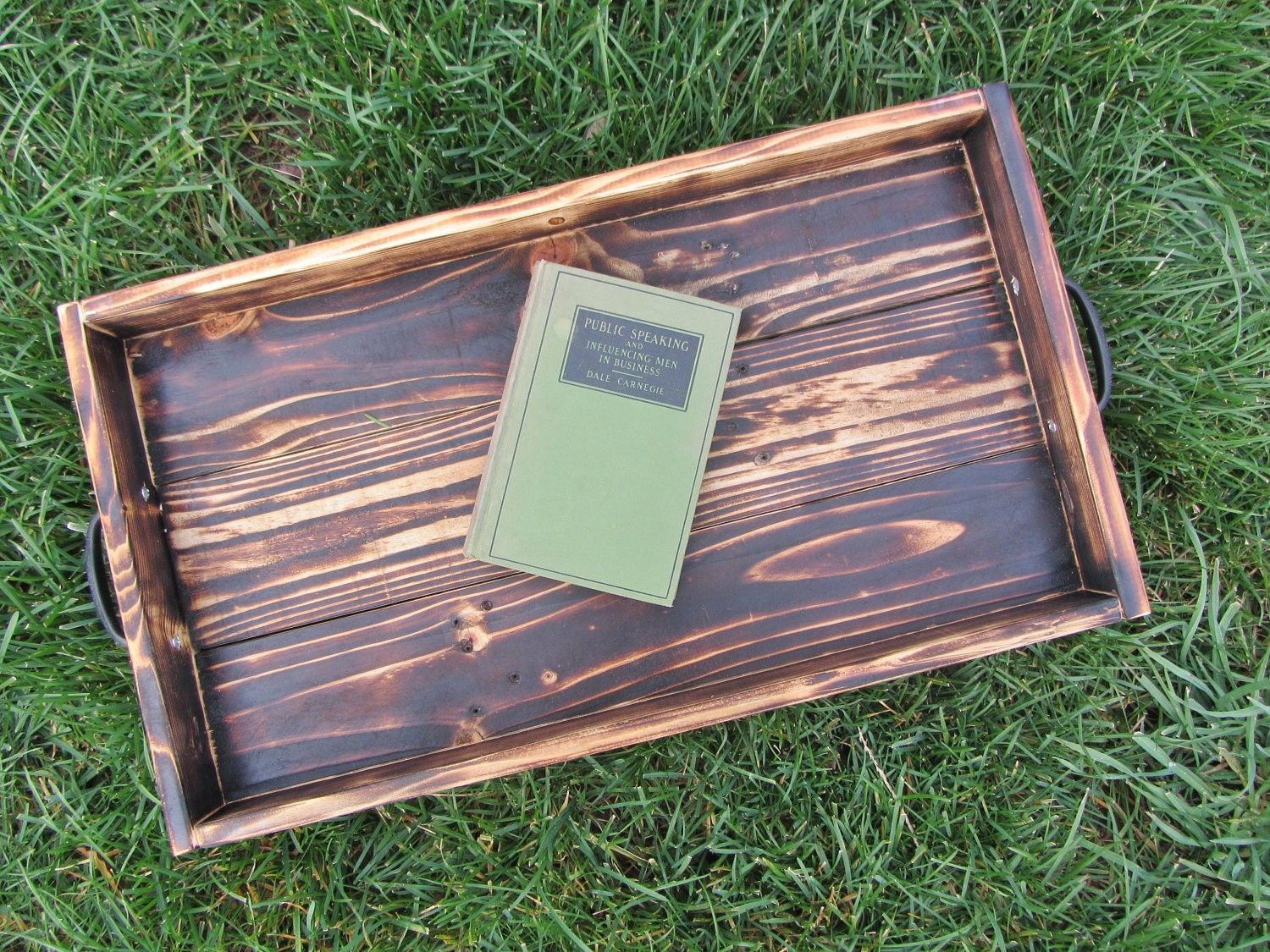 Custom Made Wood Ottoman Tray Made From Reclaimed Pallet Wood Serving Tray - Hand Made Wood Ottoman Tray Made From Reclaimed Pallet Wood