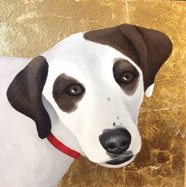 Custom Made Custom Pet Portrait, Gold Leaf, Personalized Dog Cat Memorial Painting