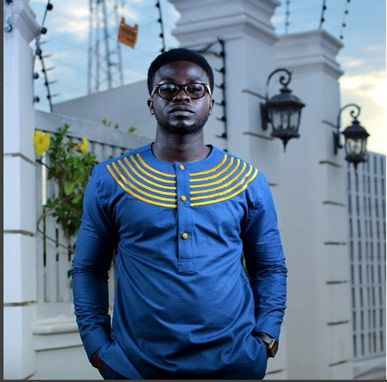 Custom Made Blue & Gold Men's African Fashion Wear; African Clothing;Men's Wear