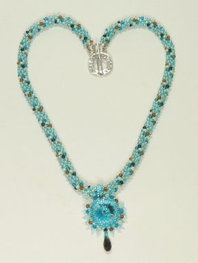 Custom Made Aquamarine Kumihimo Necklace With Aquamarine 18mm Rivoli
