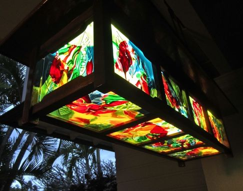 Custom Made Fused Glass Panels For Hanging Light Fixture - Kailua Crotons