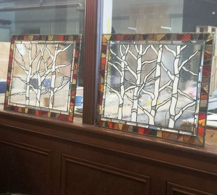 "Custom Made Stained Glass Hanging Windows - ""Autumn Trees"" (P-44)"