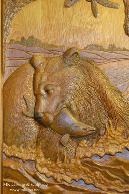 "Custom Made Carved Door ""Bear In The River"""