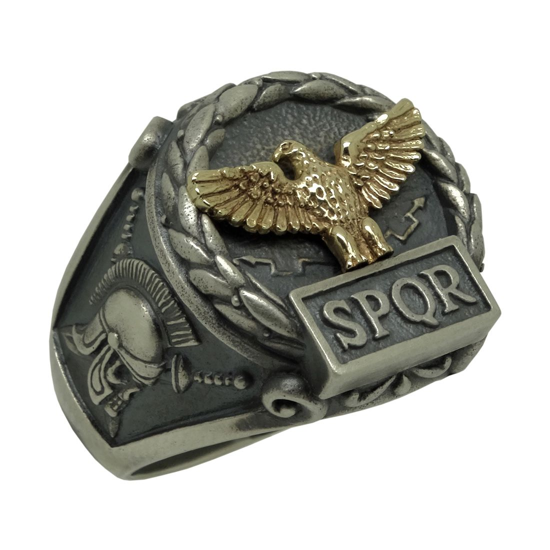 8c3df2f7adb49d Handcrafted Sterling Silver 925 And Solid Yellow Gold 10k Custom Made Roman  Empire Eagle Spqr Ring
