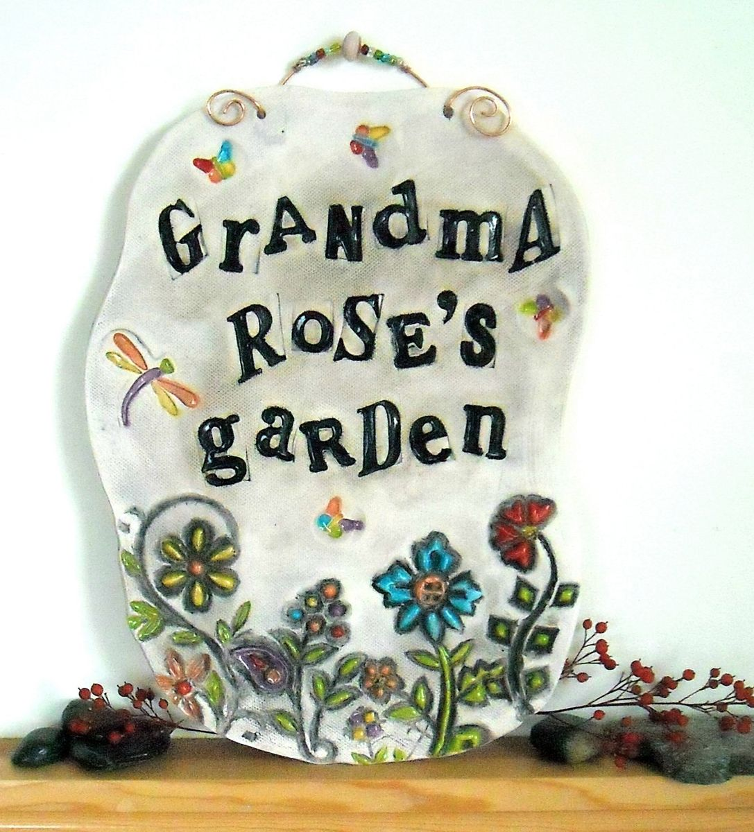 Hand crafted personalized ceramic pottery garden plaque handmade custom made personalized ceramic pottery garden plaque handmade to order flower bloom tile decoration dailygadgetfo Choice Image