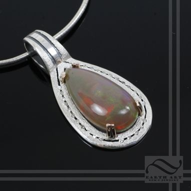 Custom Made Elegance - Opal And Diamond Pendant