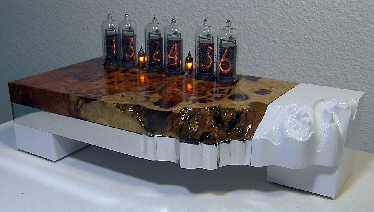 Custom Made Amboyna Burl Nixie Tube Clock