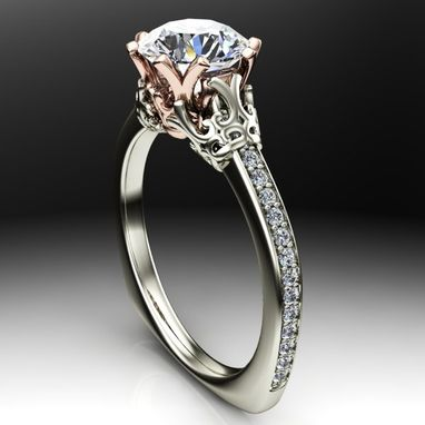 Custom Made Two Tone Vintage Scroll Designed Engagement Ring
