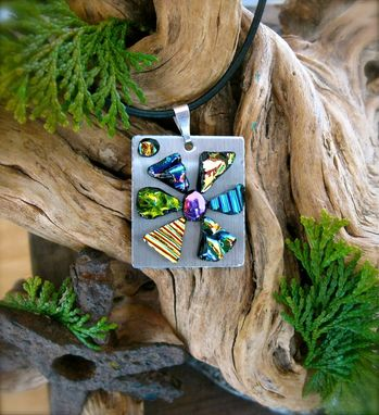 Custom Made Flower Necklace Made With Stainless Steel And Art Glass