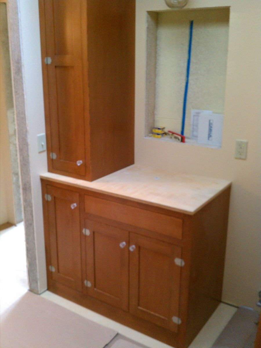 Custom made douglas fir bath cabinets by artisan woodcraft - Custom made cabinet ...