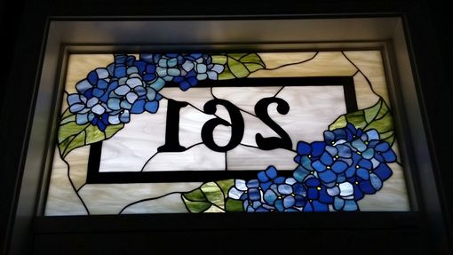 "Custom Made Stained Glass Address Marker- ""Blue Hydrangeas"" (Am-152)"