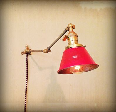 Custom Made Brass Pipe Industrial Sconce - Hand Finished Steel Shade