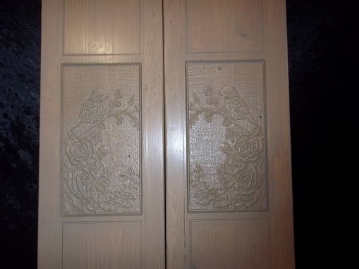 Custom Made Custom Cafe Doors With Bird And Roses Wood Carving