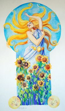 Custom Made Day Watercolor Painting, Includes Sunflowers And Female Figure