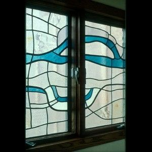 Custom Made Flowing Water Window (Country Estates Bathroom)