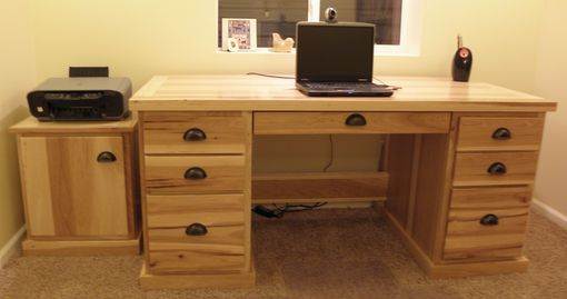 Custom Made Hickory Office Set- Desk, Printer Cabinet, Book Shelf