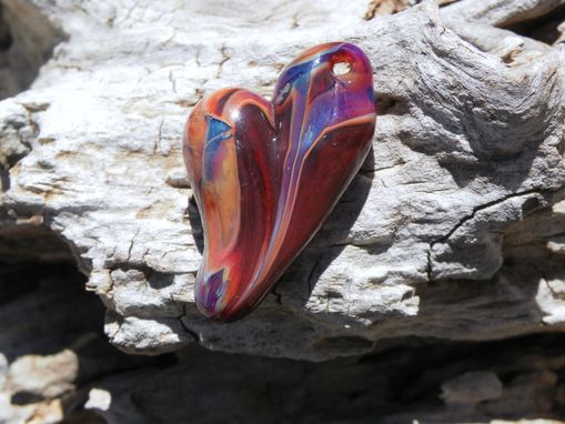Custom Made Brick Red And Purple Glass Heart Pendant