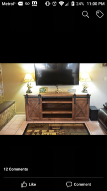 Custom Made Sliding Barn Door Entertainment Center