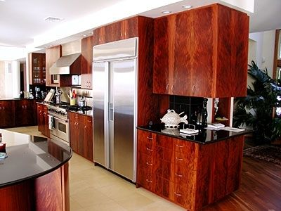 Custom Made Contemporary Kitchen In Crotch Mahogany Veneer
