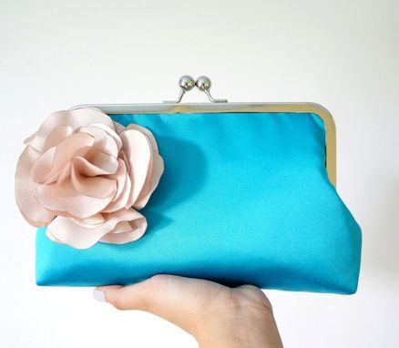 Custom Made Teal Clutch Purse With Handmade Carnation Flower Brooch
