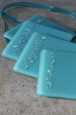 Custom Made Turquoise Glass Coasters In Set Of 4