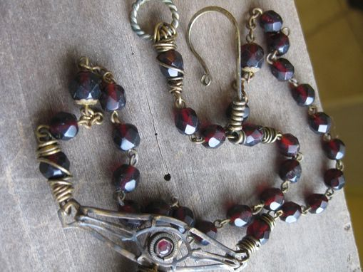 Custom Made Vintage Red Glass Rosary Beads, Brooch, And Armoire Key Necklace