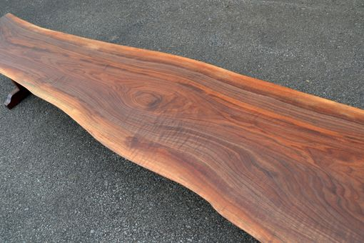 Custom Made Live Edge Walnut Trestle Bench With Figured Top