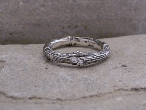 Custom Made Stackable Twig Ring In Sterling Silver With Diamond