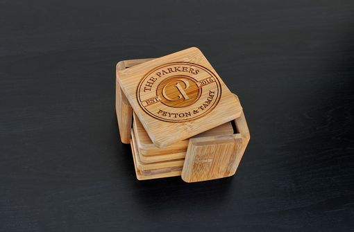 Custom Made Custom Bamboo Coasters, Custom Engraved Coasters --Cst-Bam-Parkers