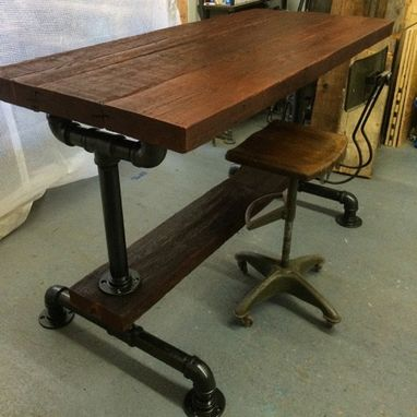 Custom Made Industrial Reclaimed Bar Table W/ 2