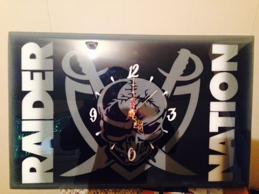 Custom Made Custom Oakland Raiders Wood Clock